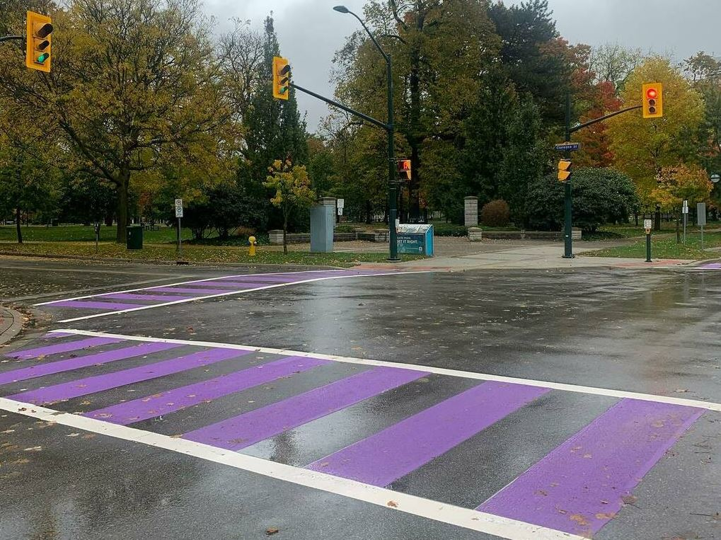 Crosswalks have been painted purple to mark LAWC's 11th annual Shine the Light campaign.