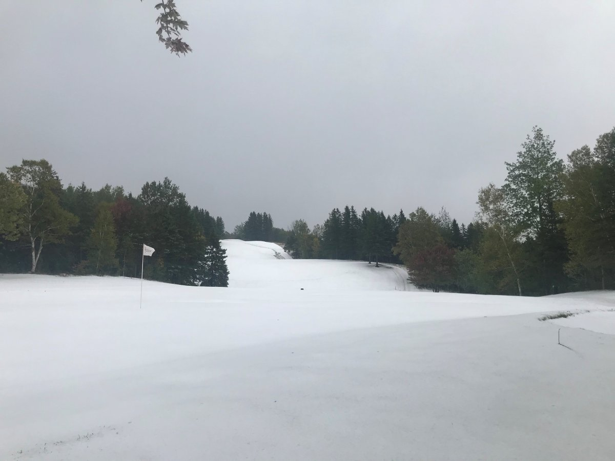 Snow covered the golf course in Antigonish on Friday, Oct. 9.