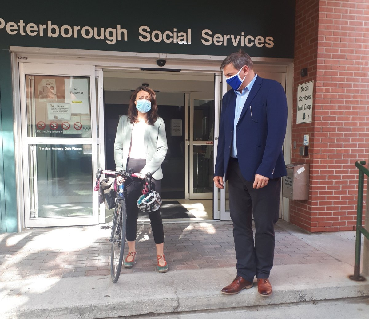 Peterborough-Kawartha MPP Dave Smith with Peterborough Mayor Diane Therrien announced $1.9M for the city's overflow shelter.