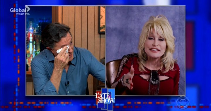 Stephen Colbert tears up at Dolly Parton's singing on 'Late Show'