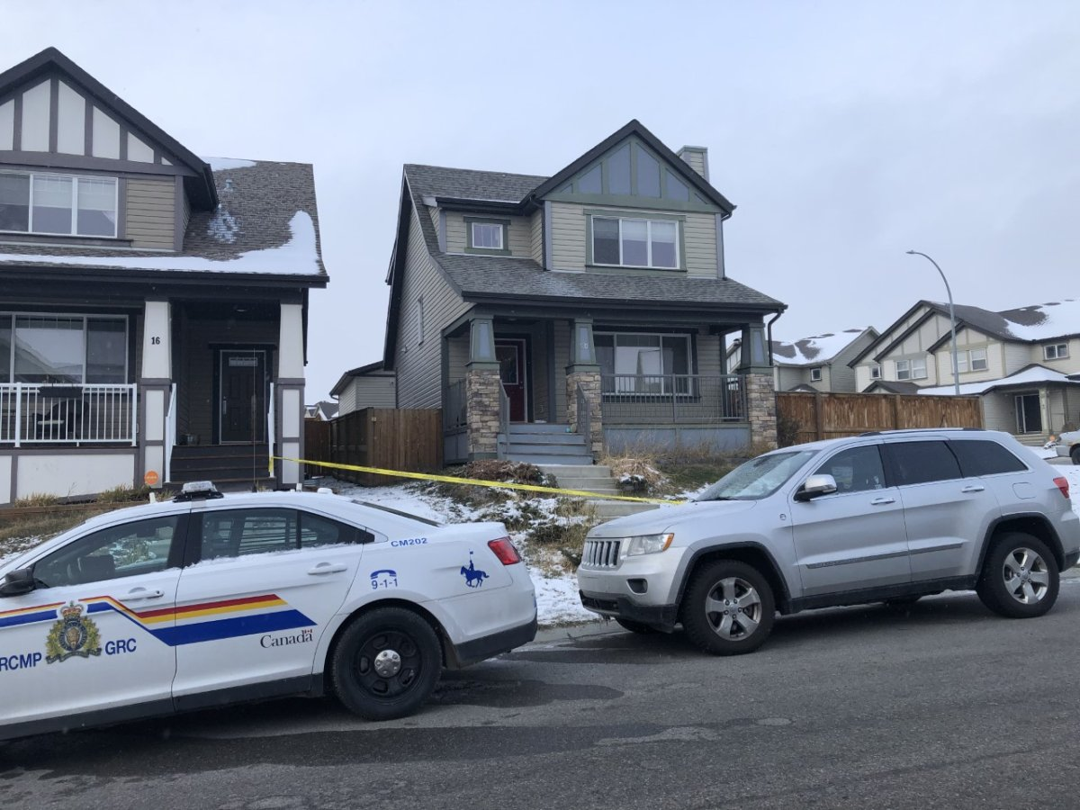 RCMP officers responded to a fatal stabbing in a Cochrane house in the Sunset Common area on Sunday, Oct. 18, 2020.