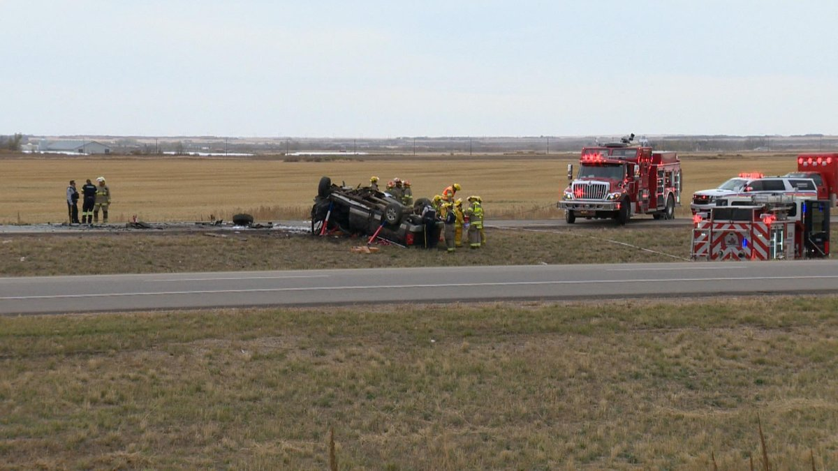 Emergency services were called to the multiple-vehicle collision that blocked northbound traffic on Highway 11 south of Osler, Sask., on Thursday.