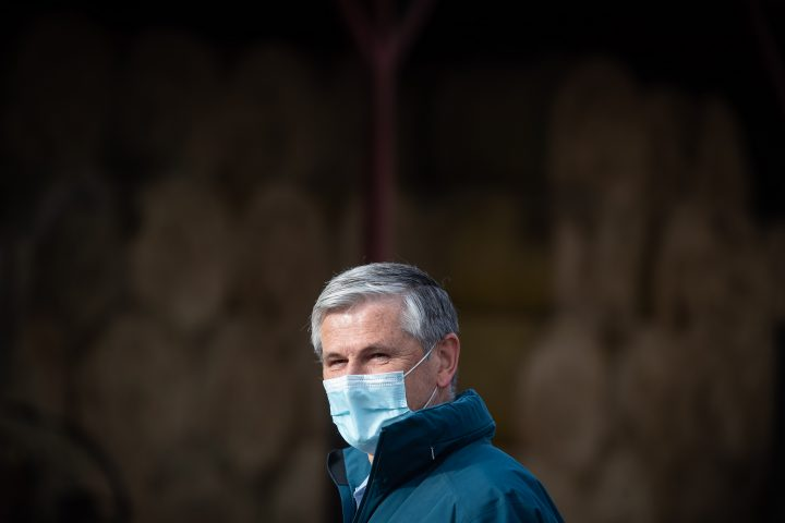 Liberal Leader Andrew Wilkinson listens while being introduced during a campaign stop at Nicomekl Farms, in Surrey, B.C., on Tuesday, October 20, 2020.
