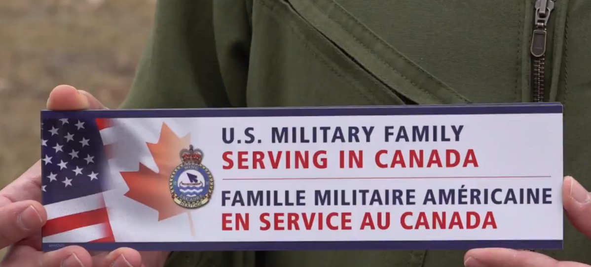 These bumper stickers were made in hopes of stopping acts of vandalism or hostility towards U.S. troops in Winnipeg.