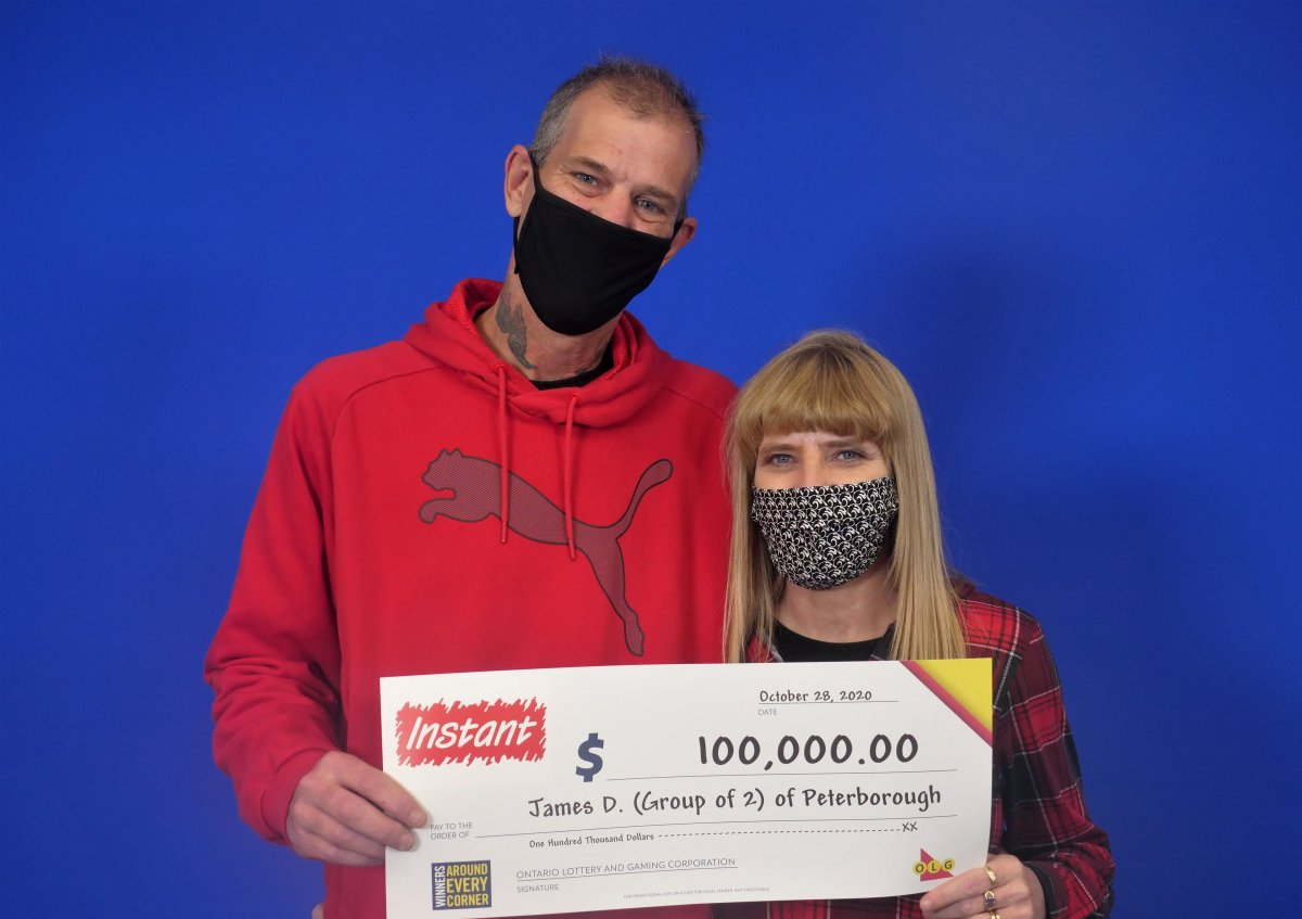 James Dufresne and Jennifer (Jenny) White of Peterborough are $100,000 richer after winning with Instant 5X Cash lottery game.