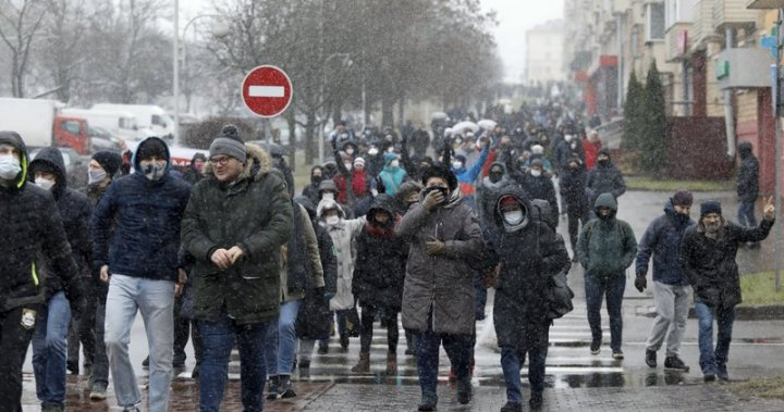 More than 100 protesters detained by Belarus forces at pro-democracy rallies