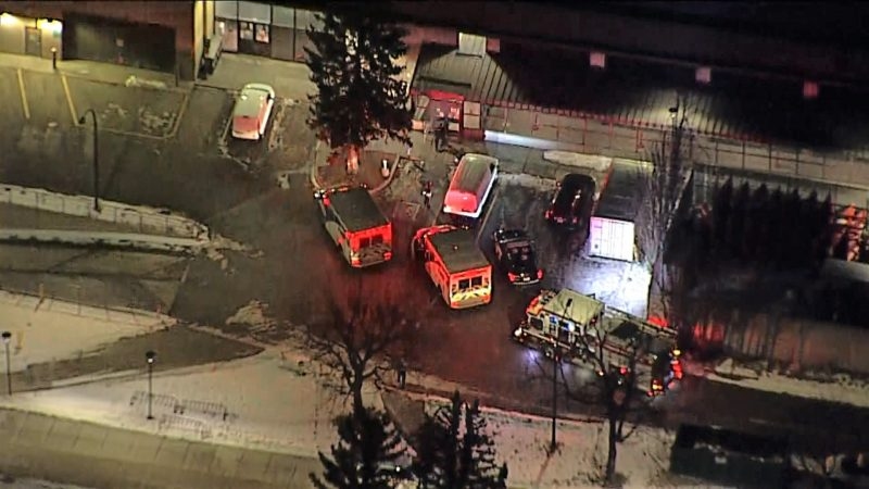 Emergency crews  are seen outside the University of Calgary's Aquatics Centre  on Wendesday, Nov. 25, 2020.