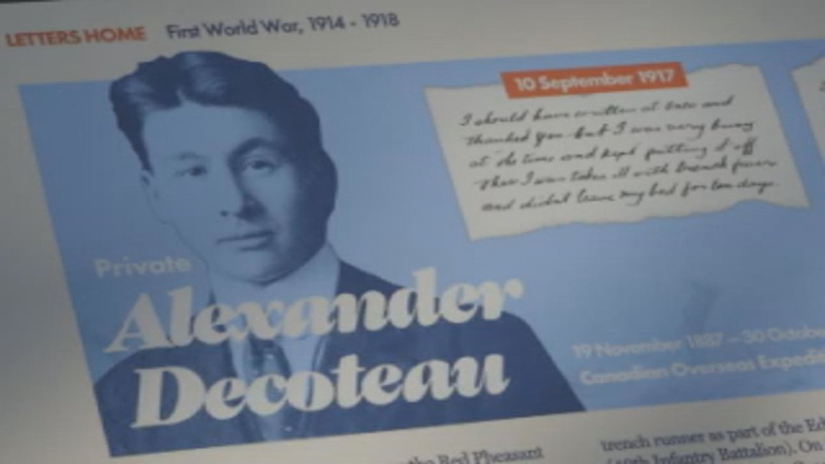 A plaque depicting the life of Alexander Decoteau from the 'Letters Home' installation
