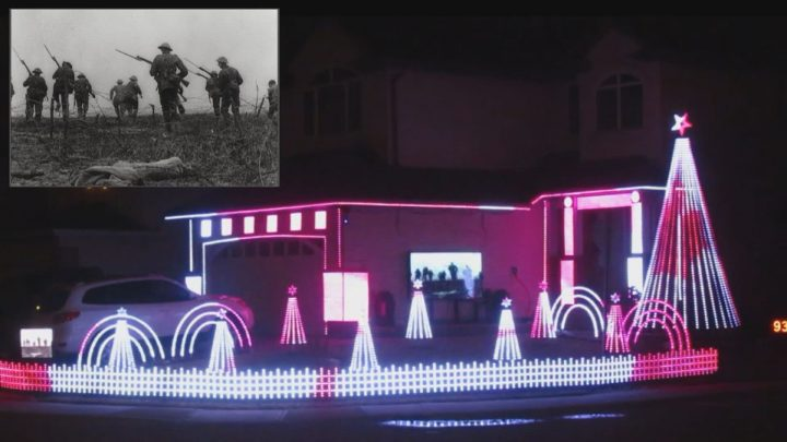 Trevor Allen created a Remembrance Day-themed light display that consists of 70,000 red and white lights outside his Regina home.
