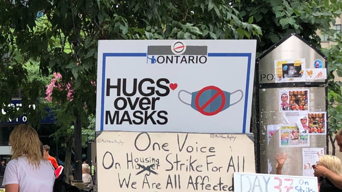 3 charged after Hugs Over Masks protest at Hamilton city hall - image