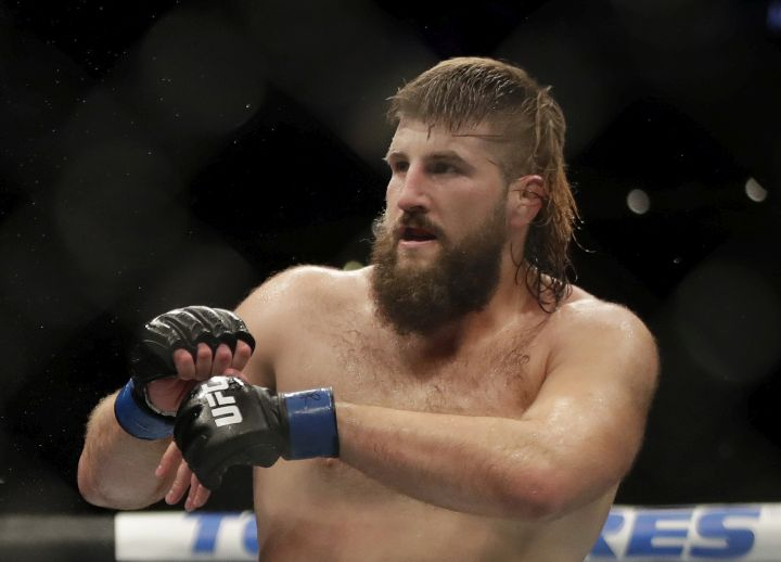 Tanner (The Bulldozer) Boser during a heavyweight mixed martial arts bout against Daniel Spitz, Friday, Oct. 18, 2019, at UFC Fight Night in Boston.