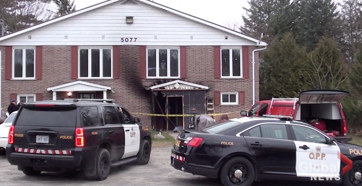 A man's body was found following a fire at an apartment complex in Bewdley, Ont., on Sunday morning.