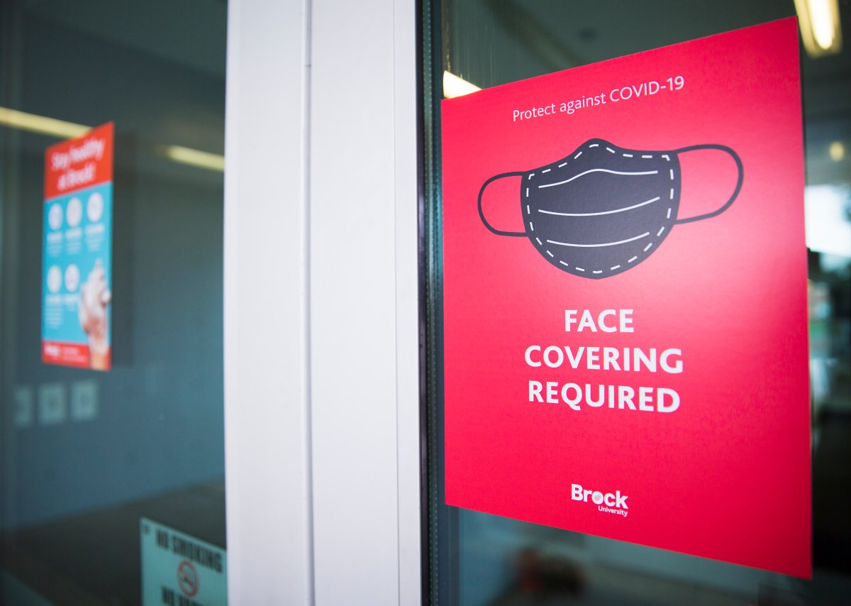 A sign indicates on-campus protocols at Brock University in St. Catharines, Ont. Tuesday, Sept. 8, 2020.