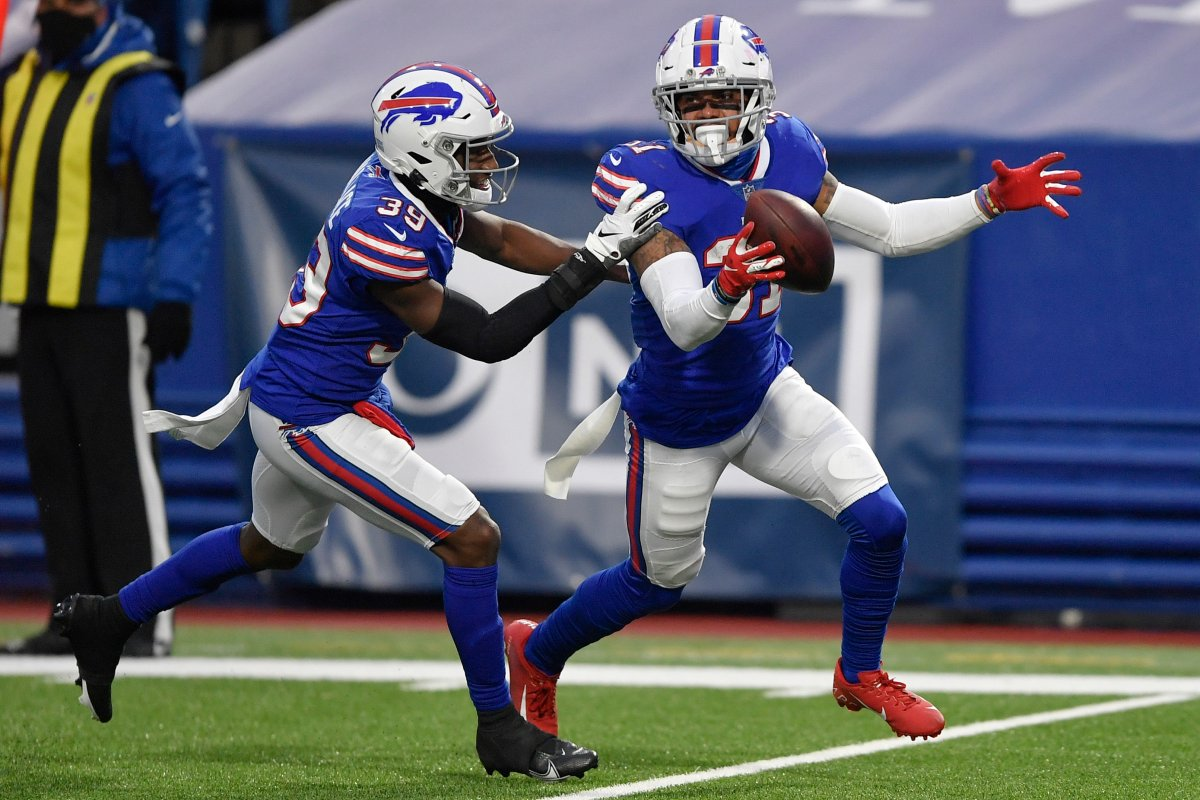 Buffalo Bills strong safety Dean Marlowe, right, celebrates with teammate Levi Wallace (39) after recovering a fumble by New England Patriots quarterback Cam Newton during the second half of an NFL game Sunday, Nov. 1, 2020, in Orchard Park, N.Y. The Bills won 24-21.