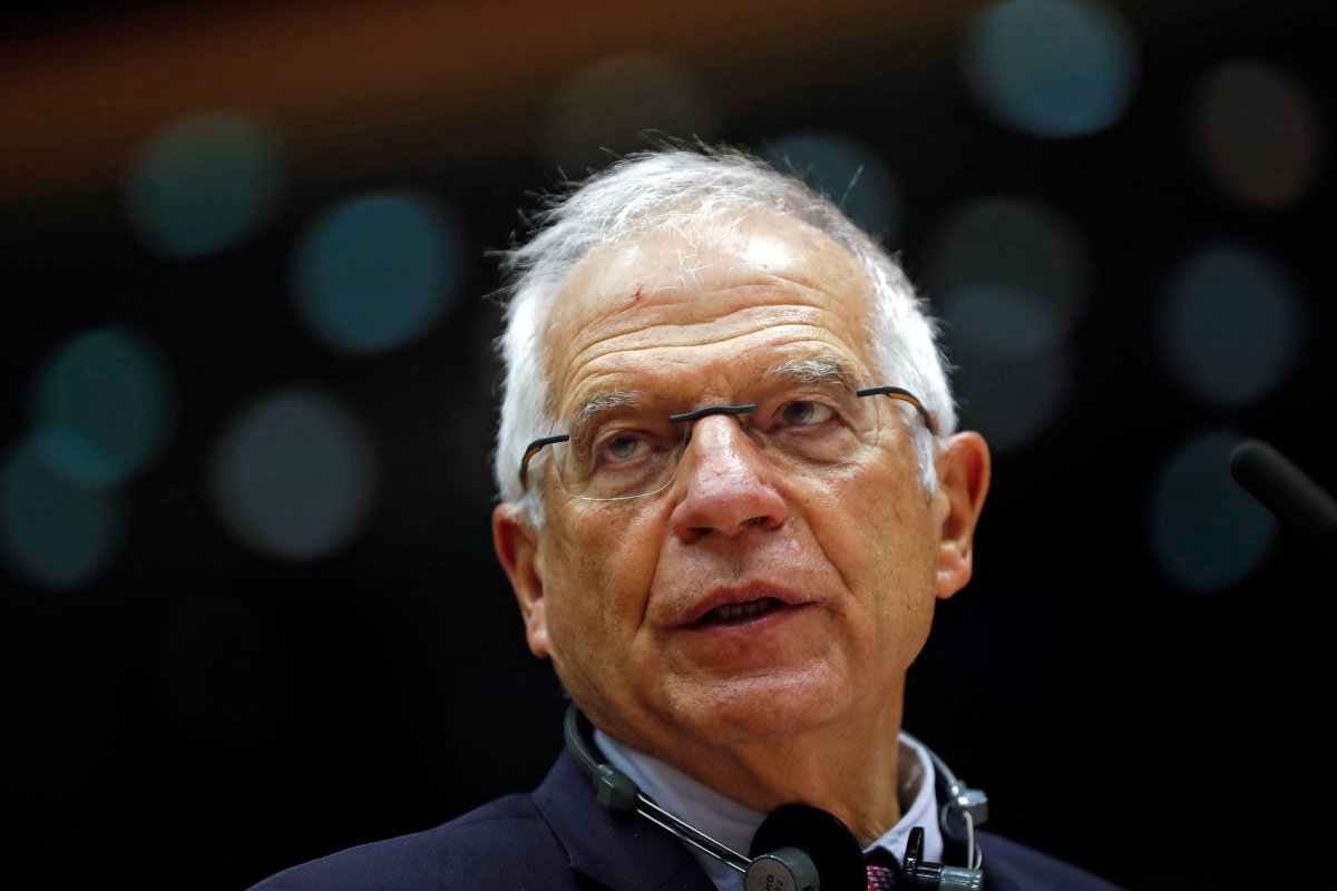 European Union foreign policy chief Josep Borrell addresses lawmakers during a plenary session of relations with Belarus at the European Parliament in Brussels, Belgium, Oct. 20, 2020.