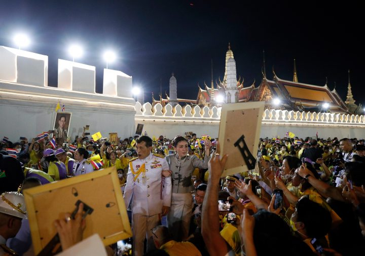 Thai King Maha Vajiralongkorn Bodindradebayavarangkun (C-L) and Thai Queen Suthida (C-R) greet royalists after a royal ceremony at the Grand Palace in Bangkok, Thailand, 01 November 2020. Thousands of royalists gathered to show their support to the Thai King after the pro-democracy protesters held street protests calling for a monarchy reform.