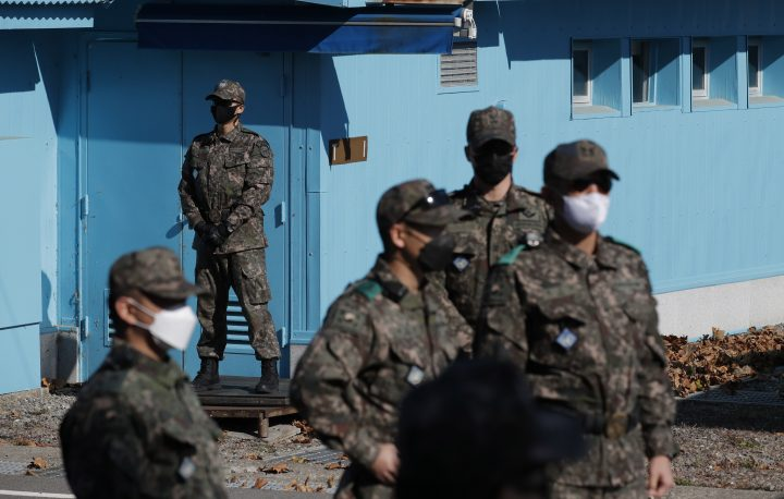FILE: South Korean soldiers stand at the southern side of Panmunjom in the Demilitarized Zone, South Korea, 04 November 2020.