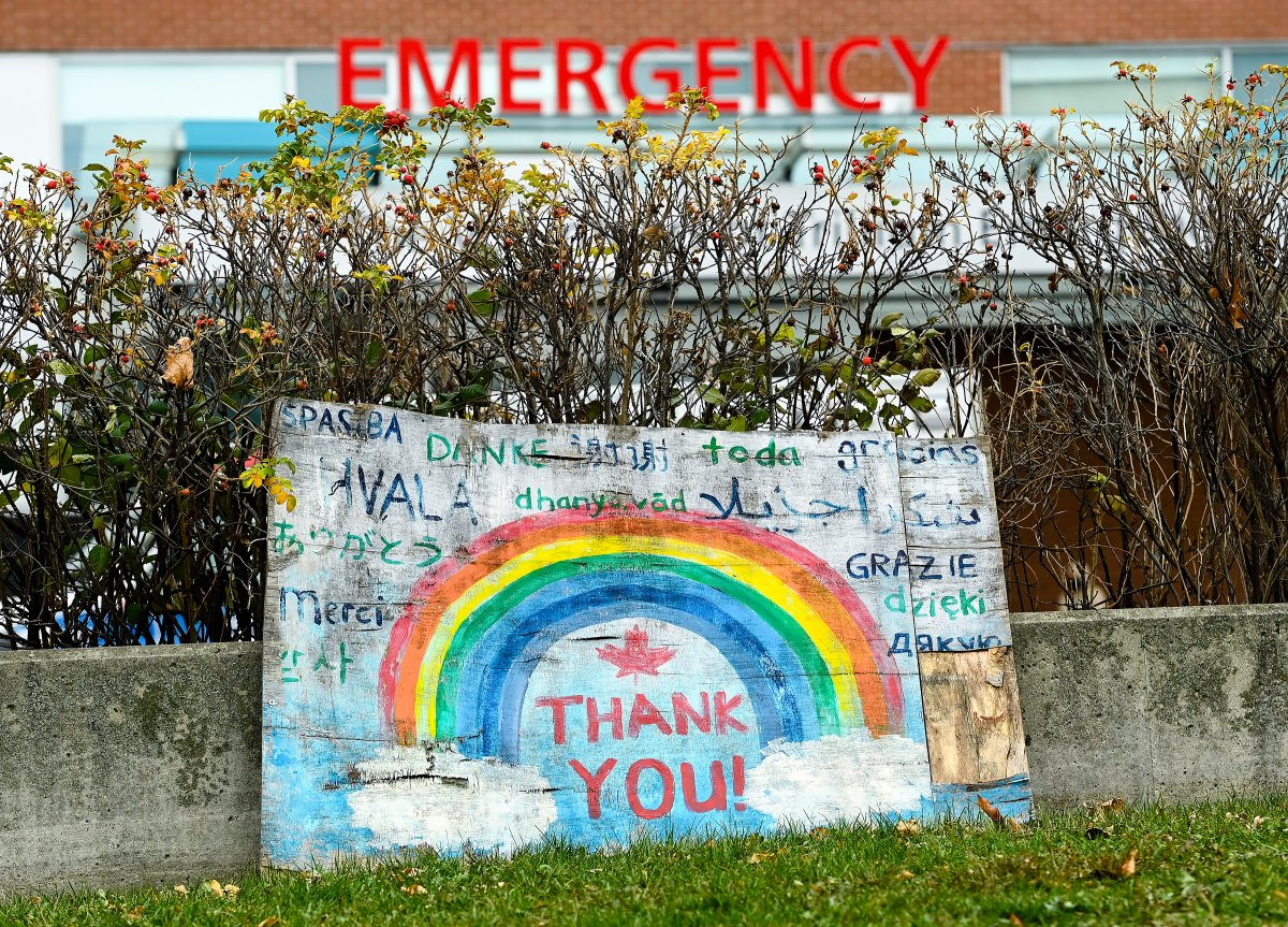 A thank you sign is displayed outside a hospital's emergency department during the COVID-19 pandemic in Mississauga on Thursday, November 19, 2020.