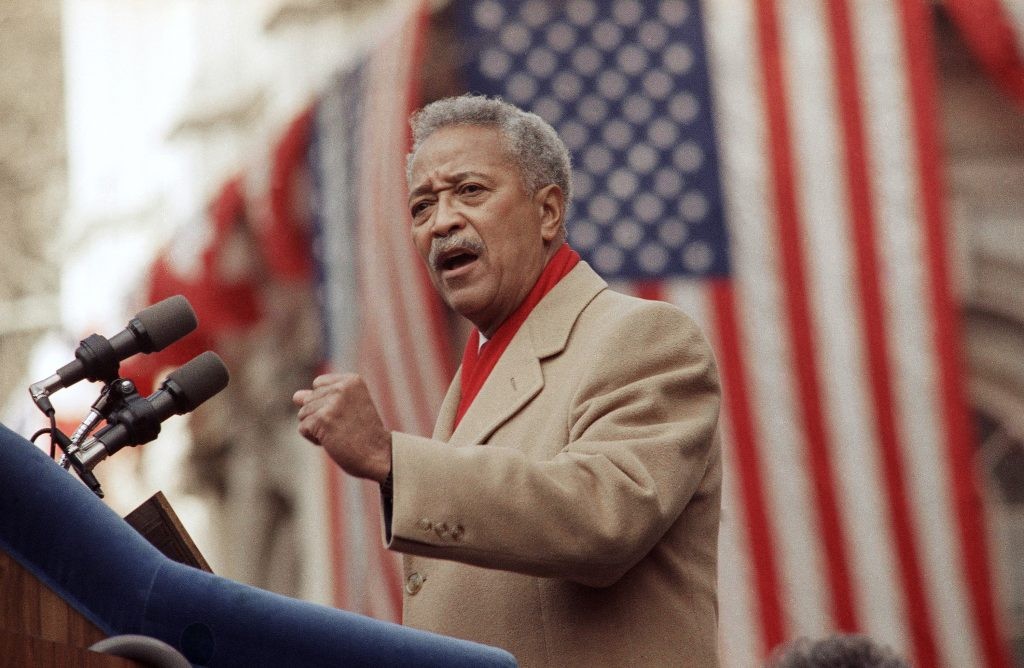 FILE - In this Monday, Jan. 2, 1990, file photo, David Dinkins delivers his first speech as mayor of New York, in New York. Dinkins, New York City's first African-American mayor, died Monday, Nov. 23, 2020. He was 93. (AP Photo/Frankie Ziths, File).
