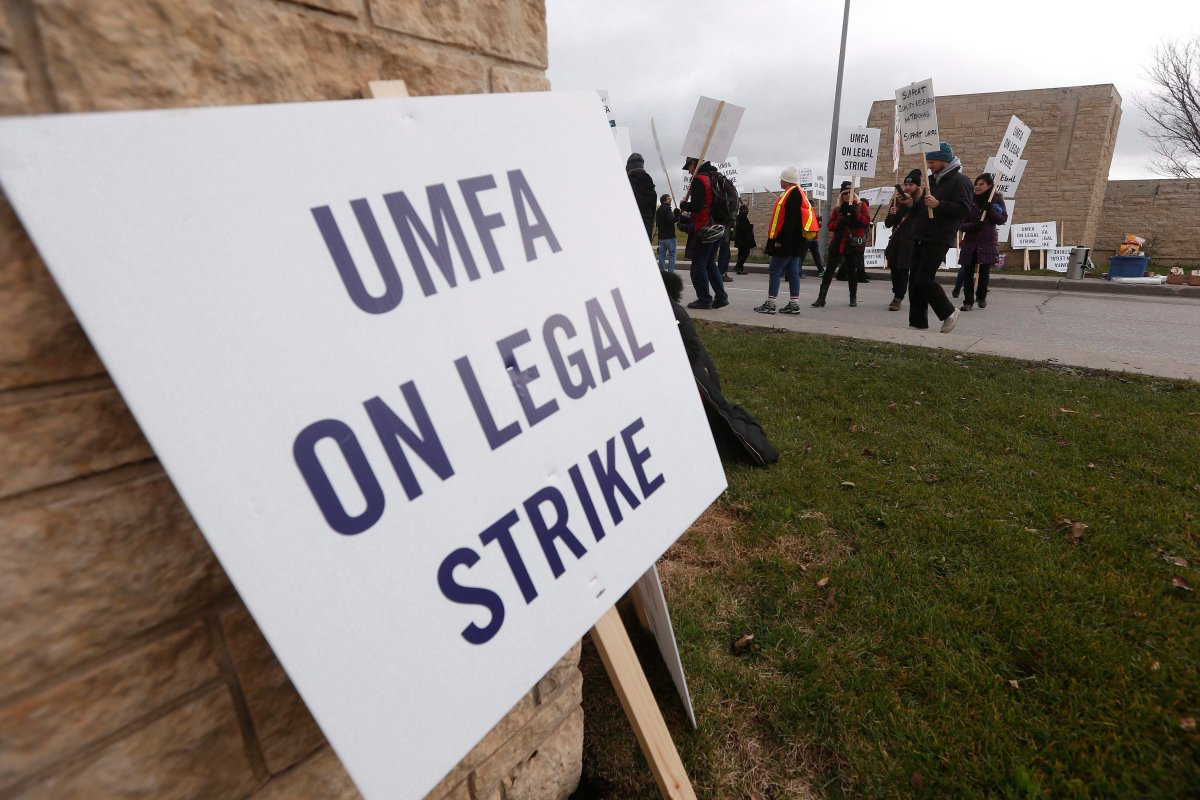 University of Manitoba Faculty Association (UMFA) went on strike and hit the picket lines at the entrance to the university in Winnipeg, Tuesday, November 1, 2016.  A potential strike at the U of M Monday has been averted.