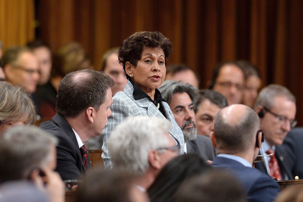 Liberal MP Yasmin Ratansi delivers a speech prior to the vote for the election of a new Speaker to preside over the House of Commons on Parliament Hill in Ottawa on Thursday, Dec. 3, 2015.