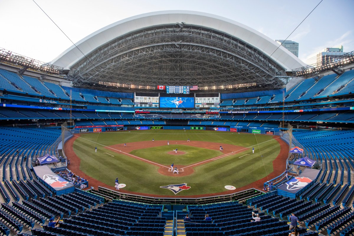 The Toronto Blue Jays play an MLB intrasquad baseball game in a nearly empty Rogers Centre in Toronto on Thursday, July 9, 2020.