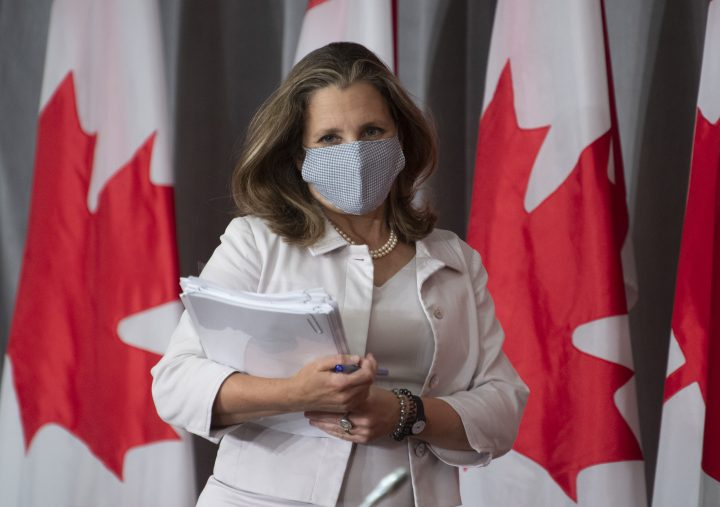 Deputy Prime Minister and Minister of Finance Chrystia Freeland arrives for a news conference Thursday August 20, 2020 in Ottawa.