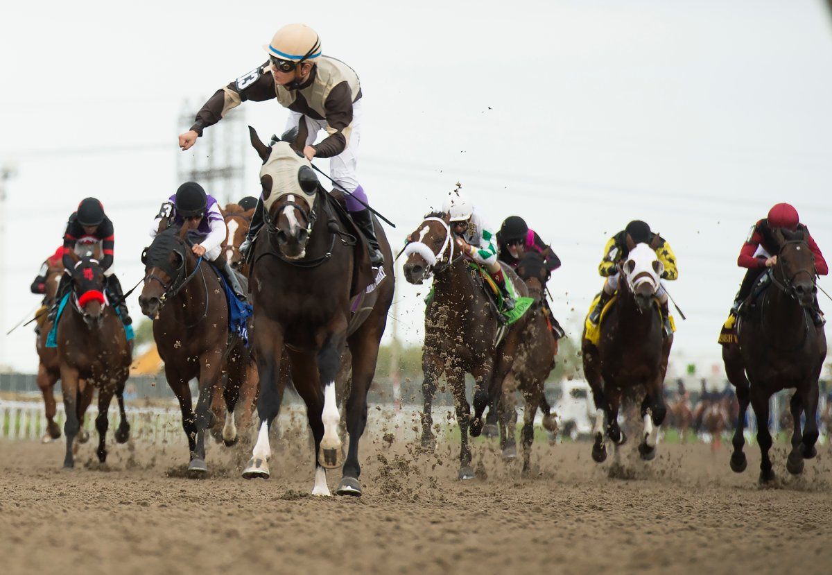 Mighty Heart with jockey Daisuke Fukumoto rides to victory during the running of the 161st Queen's Plate at Woodbine Racetrack in Toronto on Saturday, September 12, 2020.