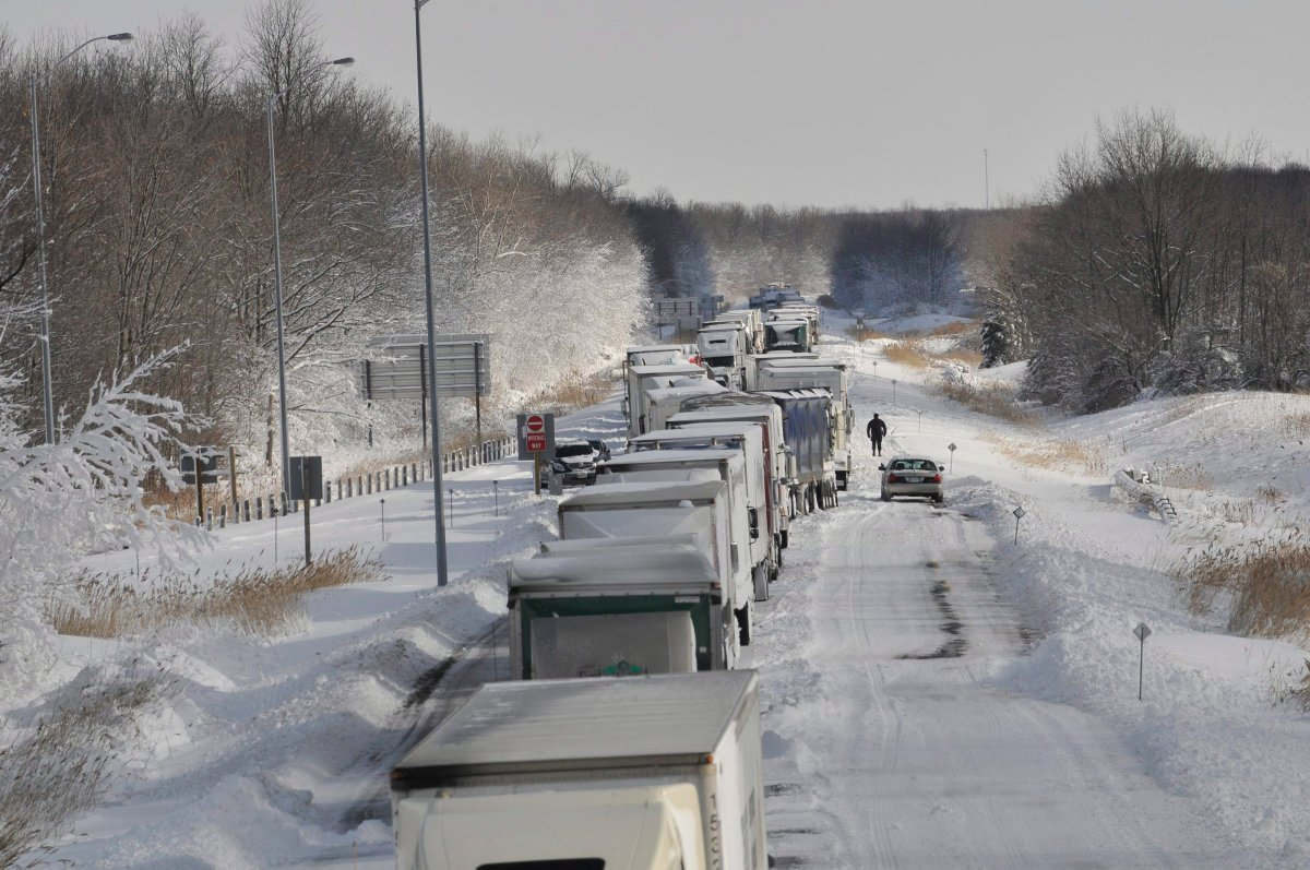 A section of Highway 402 near Sarnia, Ont., was left closed for days during 2010's Snowmageddon.