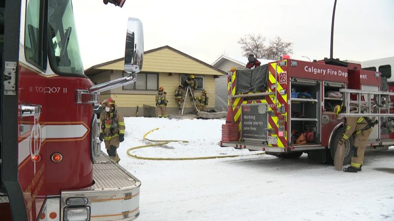 Calgary firefighters respond to a blaze in  the 100 block of Dover Meadow Close Southeast on Nov. 19, 2020.