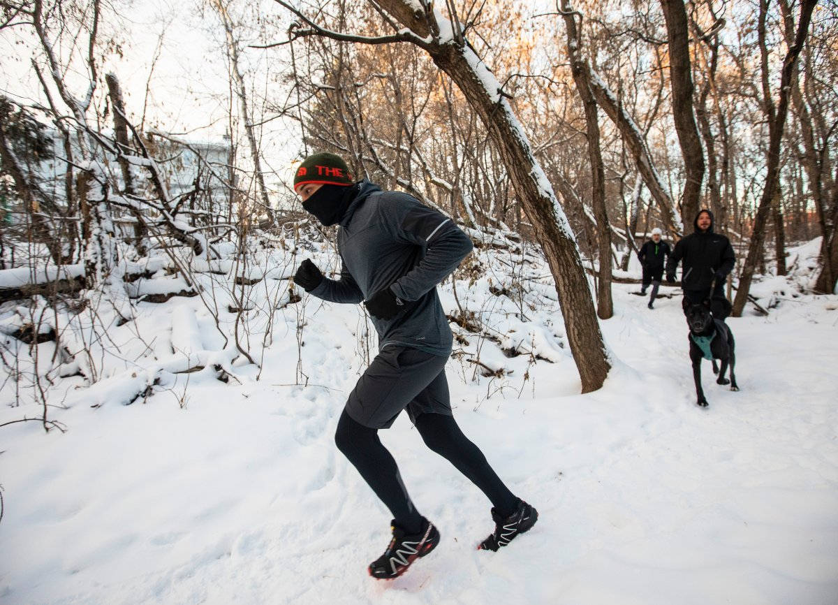 Edmonton Trail Runners go for a long run with various elevations along the trails in the River Valley in Edmonton, Saturday, Nov. 21, 2020. The runners also run under extreme weather conditions, including when it's -40 C. THE CANADIAN PRESS/Jason Franson.