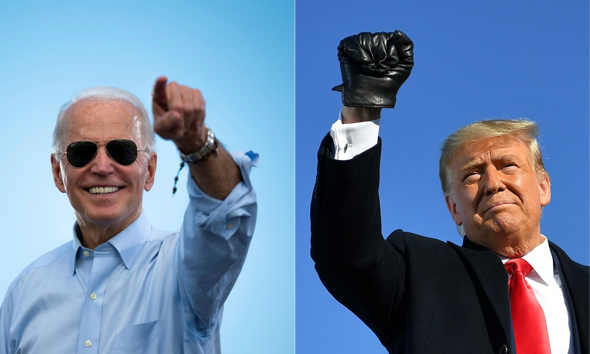 (COMBO) This combination of pictures created on October 30, 2020 shows Democratic Presidential candidate and former US Vice President Joe Biden gestures prior to delivering remarks at a Drive-in event in Coconut Creek, Florida, on October 29, 2020 and US President Donald Trump pumps his fist as he arrives to a campaign rally at Green Bay Austin Straubel International Airport in Green Bay, Wisconsin on October 30, 2020. (Photos by JIM WATSON and MANDEL NGAN / AFP) (Photo by JIM WATSON,MANDEL NGAN/AFP via Getty Images).