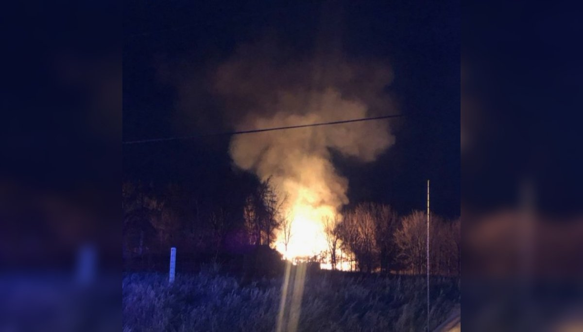 OPP say a barn was found fully engulfed in flames on Sunday night near Guelph.
