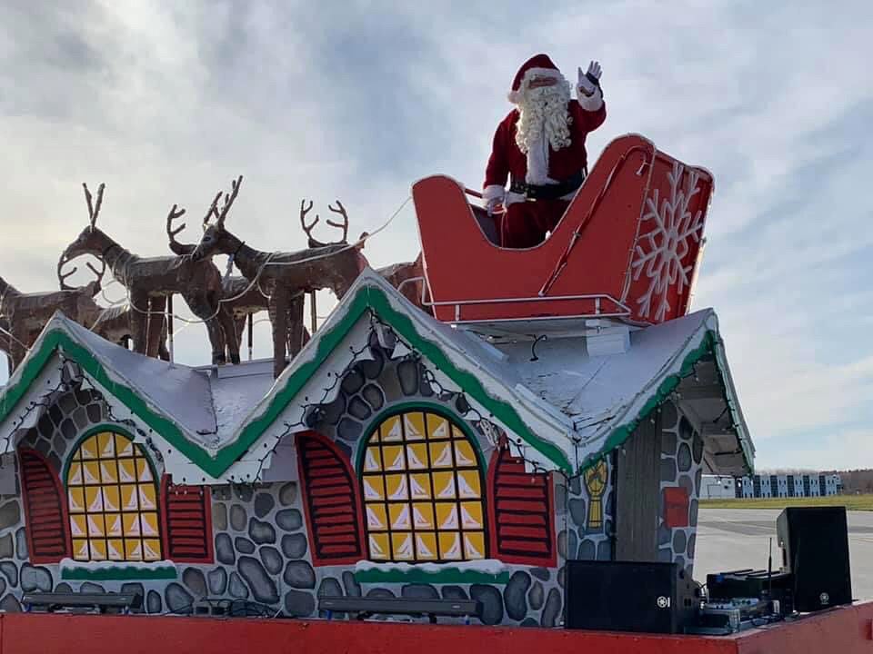 Santa Claus lands at London International Airport for thousands of
