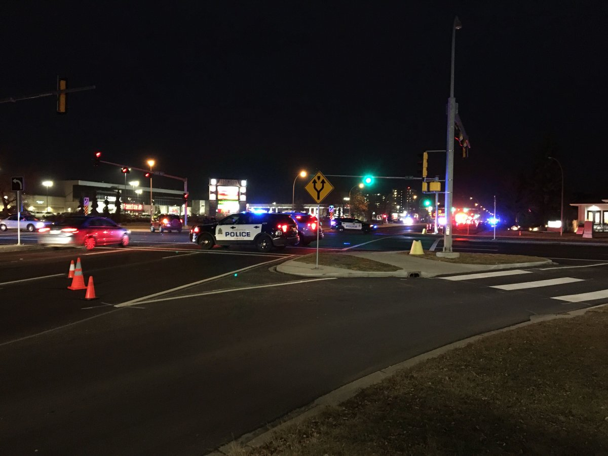 """Groat Road and 111 Ave NW was closed for a period Tuesday  evening after an incident involving an """"improper mixture of household items.""""."""
