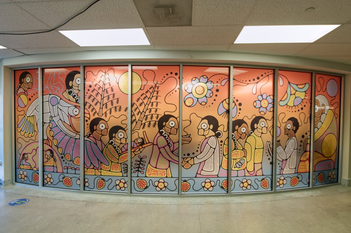 """The space's lobby features a mural titled """"Ka-Bzindaadmin,"""" which was created by Tsista Kennedy, an 18-year-old, self-taught Indigenous artist from Beausoleil First Nation and Oneida Nation of the Thames."""