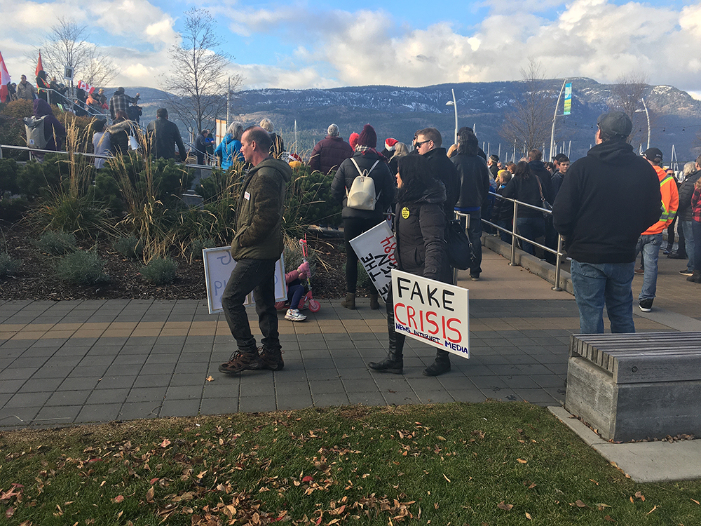 COVID-19 protesters seen in downtown Kelowna on Nov. 28, 2020. On Saturday, Jan. 16, 2021, Kelowna RCMP say this weekend's organizer was finded $2,300.