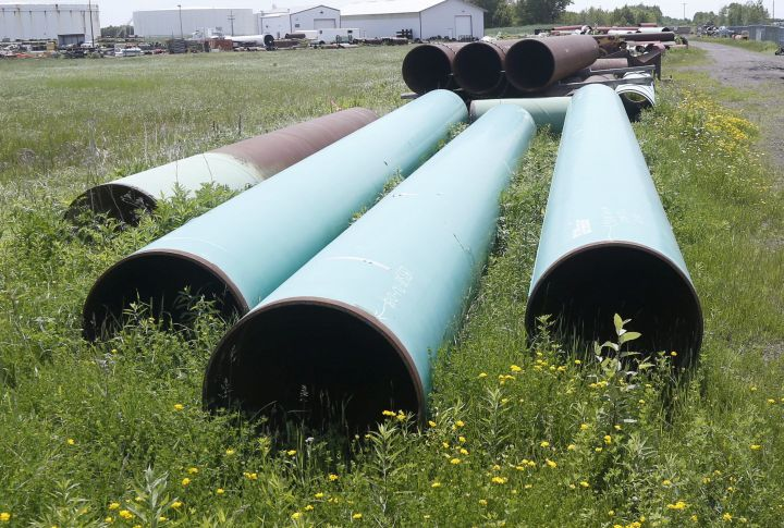 FILE - In this June 29, 2018 file photo, pipeline used to carry crude oil is shown at the Superior terminal of Enbridge Energy in Superior, Wis.