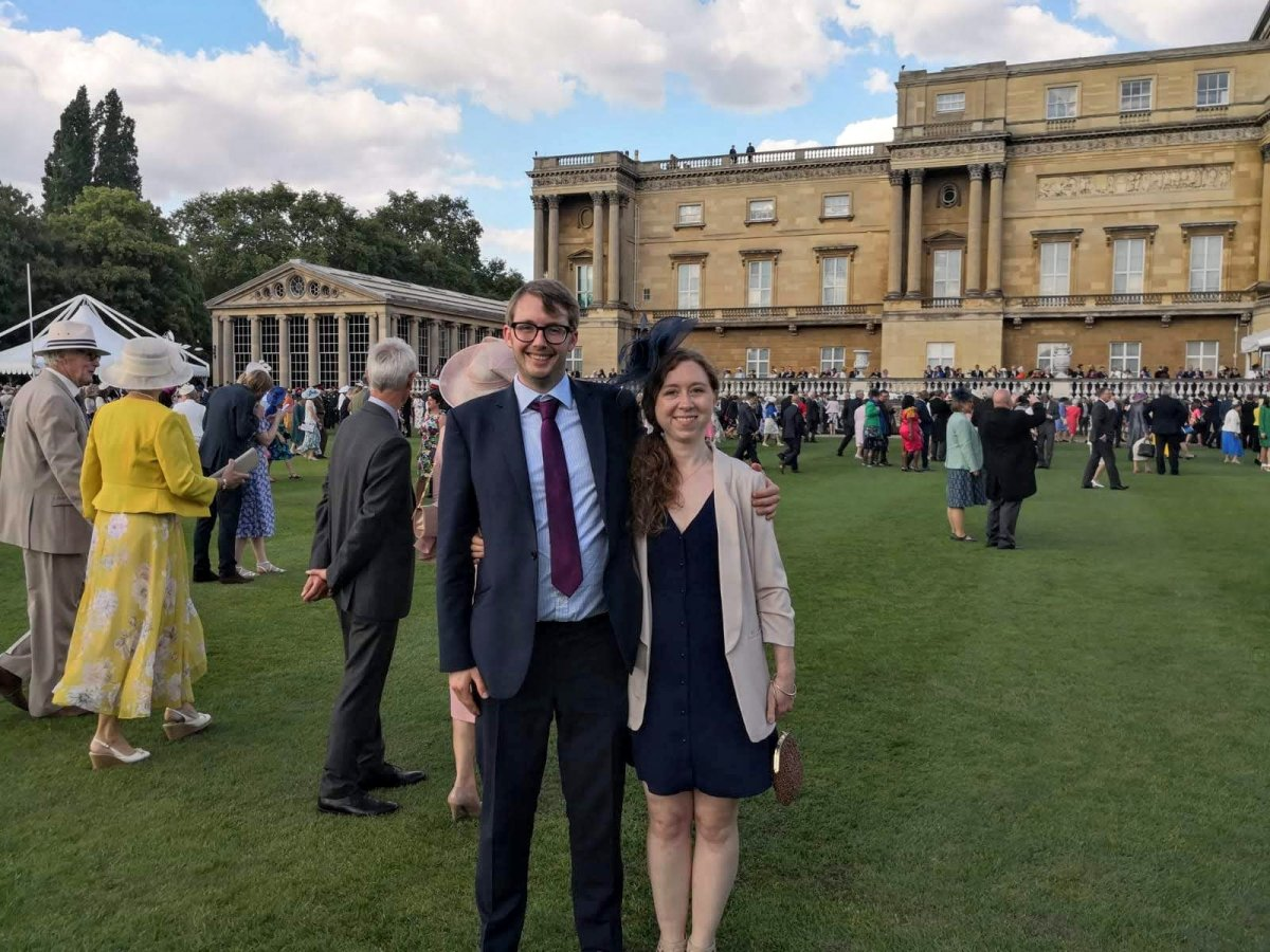 Meghan Larin, from Kitchener, Ontario, with her boyfriend Max at Buckingham Palace. Larin will spend Christmas 2020 with Max's family in Yorkshire.
