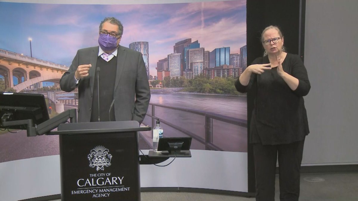 Calgary Mayor Naheed Nenshi announces a new state of local emergency from the city's emergency operations centre, pictured on Nov. 25, 2020.