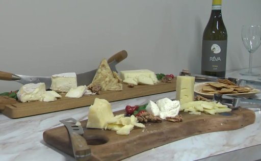 A charcuterie board of the cheeses Lakeside Dairy has made.