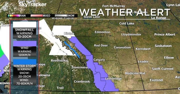 Wind, winter storm and snowfall warnings issued for parts of western Alberta
