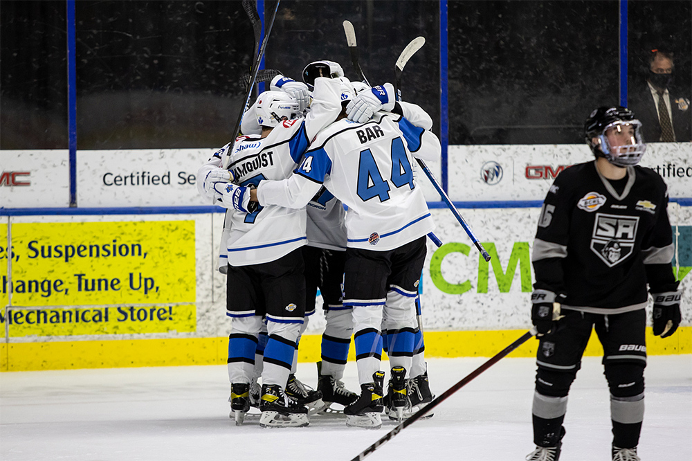 The Penticton Vees celebrate a goal during Okanagan Cup action on Nov. 13 against Salmon Arm. On Nov. 28, the Vees announced that a team member has tested positive for COVID-19.