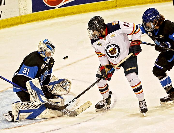Penticton Vees goaltender Kaeden Lane stops a shot during BCHL action against the Vernon Vipers on Friday night.