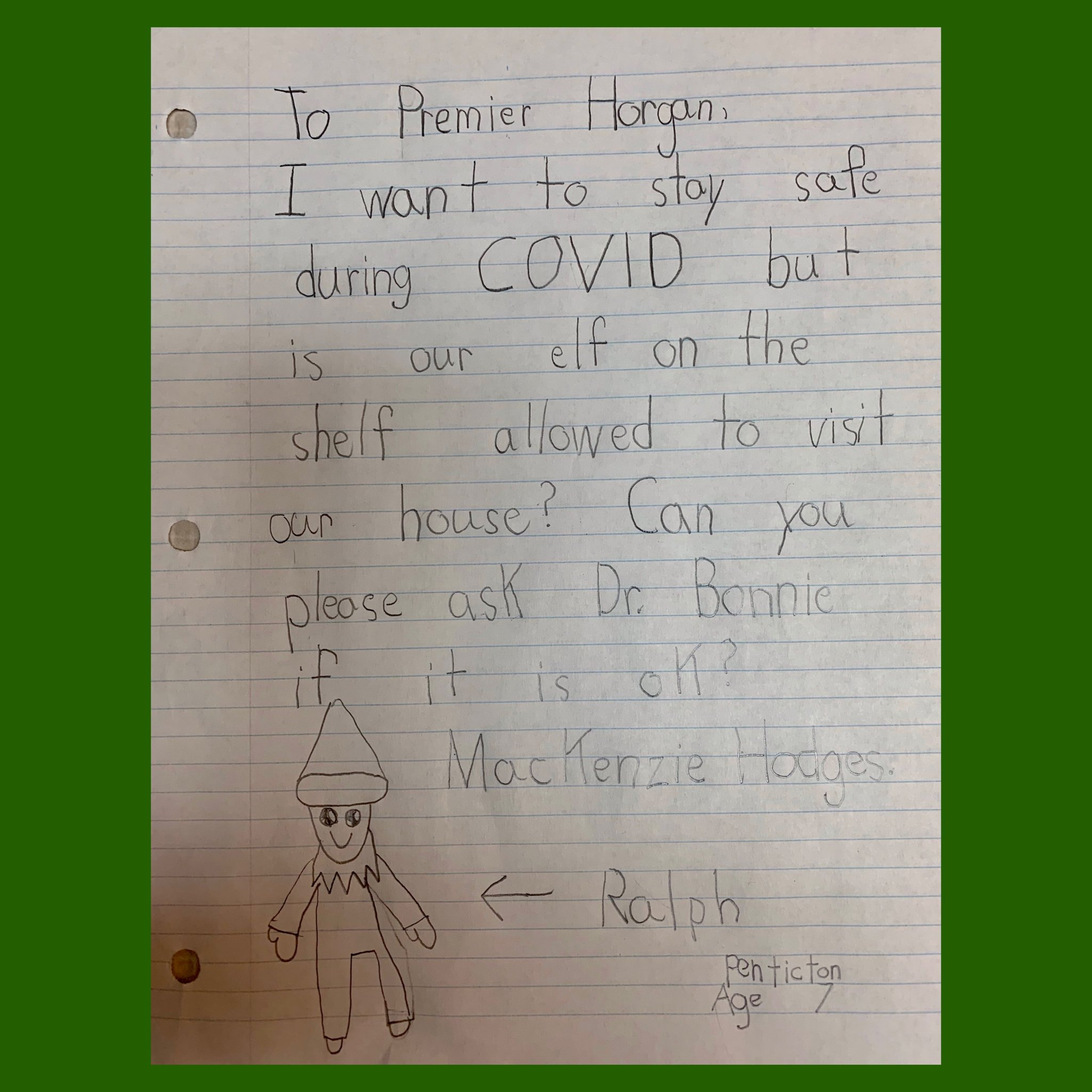 Elf On The Shelf Allowed In Social Bubble Premier Tells B C Child After Receiving Adorable Letter Globalnews Ca