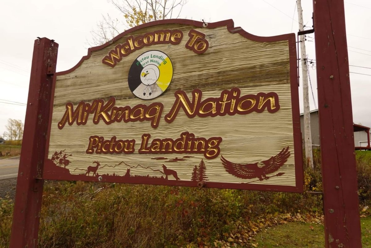 A sign welcomes visitors to Pictou Landing First Nation.