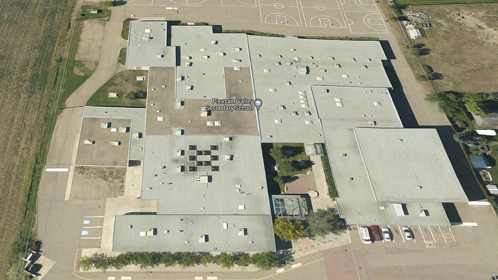 An aerial view of Pleasant Valley Secondary School in Armstrong, B.C.