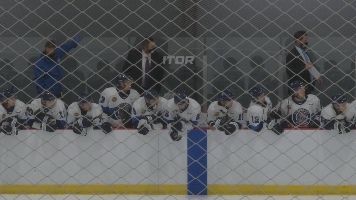 Players and coaches from the Steinbach Pistons look on from the bench.