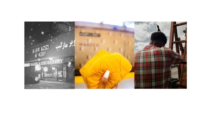 Left to right: 'Winter in the ends' by Edmond Veliz Morales, 'Warden Station Patty' by Alicia Reid and 'Continuously Under Construction' by Devante Goulbourne.
