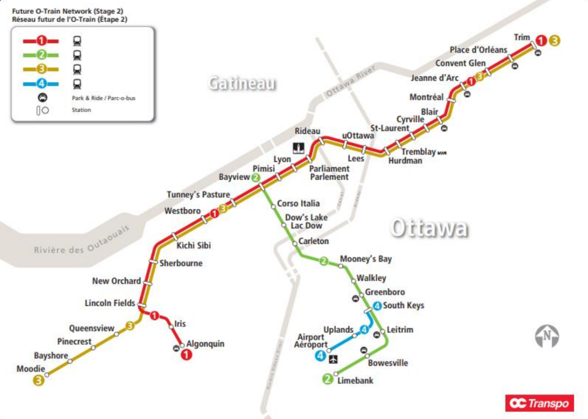 A transit map showing 41 stations and four routes on Stage 2 of Ottawa's light-rail transit system, expected to be ready in 2025.
